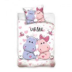 Posteľné obliečky You and me Hippo 140x200cm