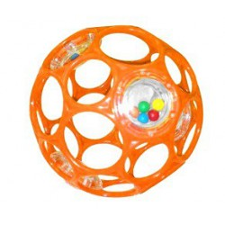 Hračka OBALL RATTLE 10 cm, 0m+ oranžová