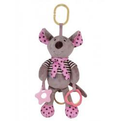 Plyšová hračka so zvukom Baby Mix Myška ružová