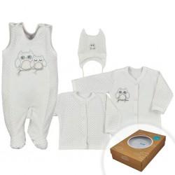 4-dielná dojčenská súprava v Eko krabičke Koala Sovička biela