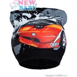 Jarná detská čiapočka New Baby auto čierné