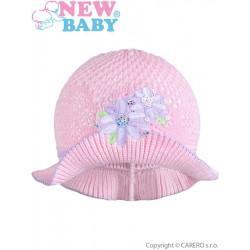 Pletený klobúčik New Baby ružovo-fialový