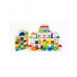 Drevené kocky pre deti Viga Písmenka a čísla 100 dielov