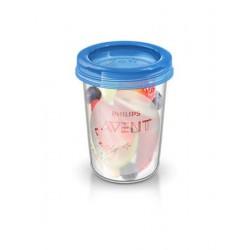Sada Via pohárikov s viečkom Avent 240 ml - 5 ks