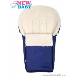 Luxusný fusak s ovčím rúnom New Baby tmavo modrý