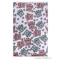Nepremokavá podložka Akuku froté 110x60 - biela s ružovými sovami