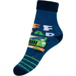 Detské froté ponožky New Baby s ABS modré off road