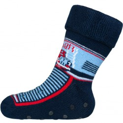 Dojčenské froté ponožky New Baby s ABS tmavo modré s hasičom