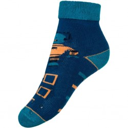 Detské froté ponožky New Baby s ABS tmavo modré robot