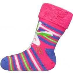 Dojčenské froté ponožky New Baby s ABS ružové s králičkom