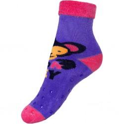 Detské froté ponožky New Baby s ABS fialové s opicí
