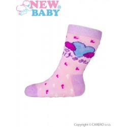 Dojčenské ponožky New Baby s ABS ružové so srdiečkom sweet