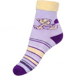 Detské froté ponožky New Baby s ABS fialové s medveďom