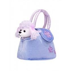 Detská plyšová hračka PlayTo Psík v kabelke fialová