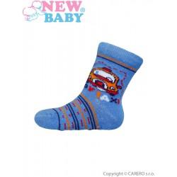Dojčenské ponožky New Baby s ABS modré toy taxi