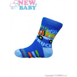 Dojčenské ponožky New Baby s ABS modré nákladné auto