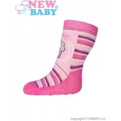 Dojčenské ponožky New Baby s ABS ružové s pruhmi a torty