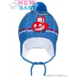 Zimná detská čiapočka New Baby autíčko tmavo modrá