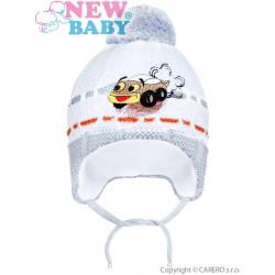 Zimná detská čiapočka New Baby auto sivá