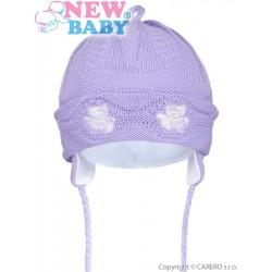 Pletená detská čiapočka New Baby medvedíkovia fialová