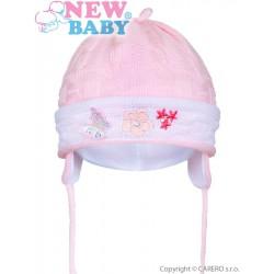 Pletená detská čiapočka New Baby bledo ružová