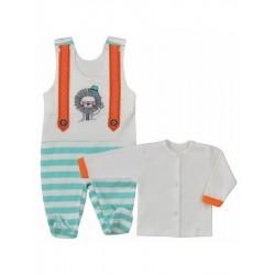 2-dielna štýlová bavlnená súpravička Koala Alex oranžovo-tyrkysová