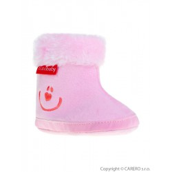Detské zimné capáčky Bobo Baby 6-12m ružové smile