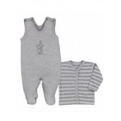 2-dielna bavlnená dojčenská súpravička Bobas Fashion Strieborná Mačka sivá