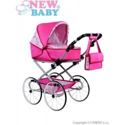 retro kočík pre bábiky Natálka ružový