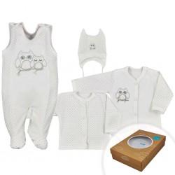4-dielná dojčenská súprava v Eko krabičke Koala Sovička béžová
