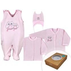 4-dielná dojčenská súprava v Eko krabičke Koala Sovička ružová