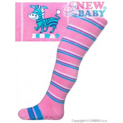 Bavlnené pančucháčky New Baby s ABS ružové zebra s pruhy