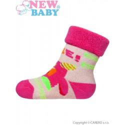 Dojčenské froté ponožky New Baby sivé s ružovým robotom
