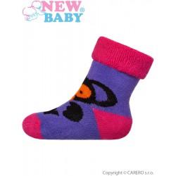 Dojčenské froté ponožky New Baby fialové s opicou