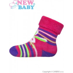 Dojčenské froté ponožky New Baby ružovo-fialové s zajacom