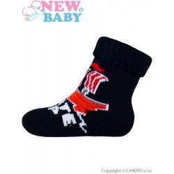 Dojčenské froté ponožky New Baby tmavo modré kosti