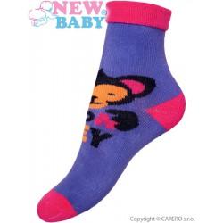Detské froté ponožky New Baby fialové s opicou