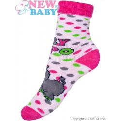 Detské froté ponožky New Baby ružové s hrochom
