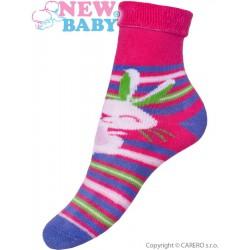 Detské froté ponožky New Baby ružovo-fialové s zajacom