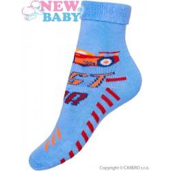 Detské froté ponožky New Baby svetlo modré fast car