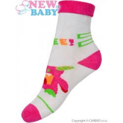 Detské froté ponožky New Baby sivo-ružové s robotom