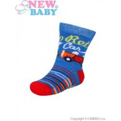 Dojčenské bavlnené ponožky New Baby modro-červené retro car