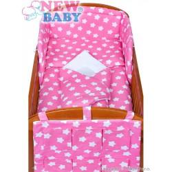 5-dielne posteľné obliečky New Baby 90/120 cm hviezdičky ružové