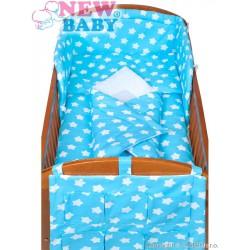 5-dielne posteľné obliečky New Baby 90/120 cm hviezdičky tyrkysové