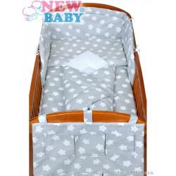 5-dielne posteľné obliečky New Baby 90/120 cm hviezdičky sivé