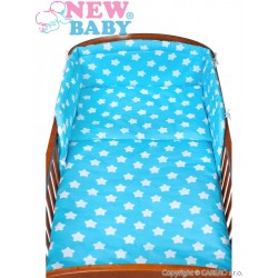 6-dielne posteľné obliečky New Baby 90/120 cm hviezdičky tyrkysové