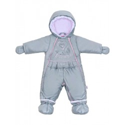 Luxusná zimná kombinéza s podšívkou New Baby Dreams sivo-ružová