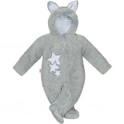 Zimná detská kombinéza New Baby Ušiačik šedá