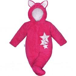 Zimná detská kombinéza New Baby Ušiačik tmavo ružová
