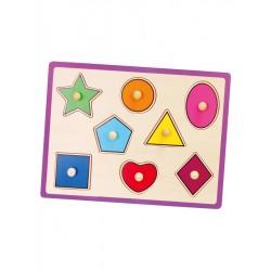 Detské drevené puzzle s úchytmi Viga Geometrické tvary